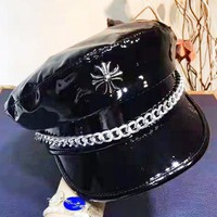 Chrome Hearts New fashion leather couple cap hat Black