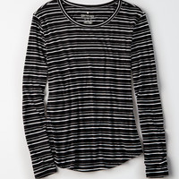 AEO Soft & Sexy Long-Sleeve Favorite T-Shirt, Black
