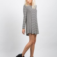 Striped Long Sleeve Flare Dress