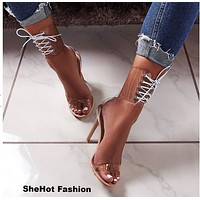 Women Transparent Lace Up High Heel Sandals