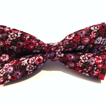 Bow Tie - floral bow tie - wedding bow tie - blue bow tie with purple and red flower pattern - man bow tie - flowers bow tie - men bow tie