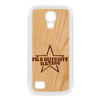 Carved on Wood Effect_Celebrity Hater White Silicon Rubber Case for Galaxy S4 Mini by Chargrilled