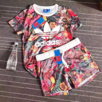 Adidas Flowers Print T-Shirt Shorts Two-pieces Set