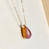 AAA Mookaite Jasper Briolette Pendant Accented with Shimmering Grey Sapphire Rondelles, in 14k Gold Fill, Anniversary Gift, Gemstone Pendant