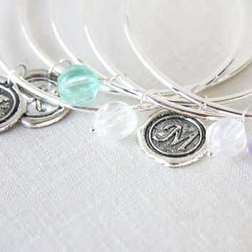 Mint Green and Clear Glass Charm Bracelet, Sterling Silver Bangle, Bridesmaid Gift, Bridesmaids Bracelet, Modern Simple Jewelry