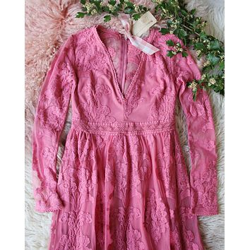 Tainted Rose Lace Maxi Dress in Long Sleeve