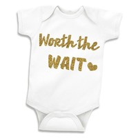 Worth The Wait Baby Girl Glitter Gold Newborn Onesuit