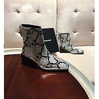 Alexander wang  Trending Women's men Leather Side Zip Lace-up Ankle Boots Shoes High Boots