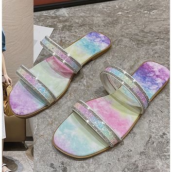 2021 summer new rainbow soled ironing and drilling sandals casual beach shoes