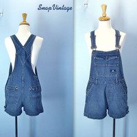 Vintage 1980s Overall Shorts SQUEEZE Dark Wash / med