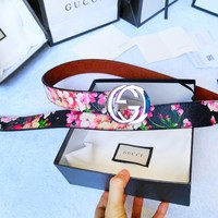 Gucci Fashion New Smooth Buckle Belt Leather Belt Couple Belt Floral Print  Waist  Personality Belt