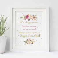 We are so happy you came Party Printable - Boho Watercolor Floral Babyshower Party Decor - Boho Watercolor Wedding Party Printable Decor