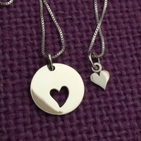 Mother Daughter Necklace - Mother Daughter Jewelry Set of 2 Sterling Silver Heart - Mommy and Me - Mother Child Jewelry - Mother's Day Gift