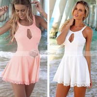 XDIAN New Hot Selling Womens Fashion Cut Hollow Out Lace Playsuit Jumpsuit Pink White Colors S M L XL - DinoDirect.com