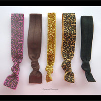 LEOPARD Elastic Hair TIES, Set of 5, Hot Pink and Brown Print, Gold Glitter, No Tug Yoga hair bands, Mother's Day Gift