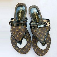 LV Louis Vuitton Fashion Women Casual Flat Sandal Slippers Shoes