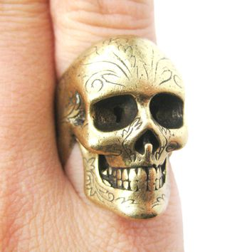 Realistic Skull Skeleton Shaped Unisex Ring with Tattoo Details in Brass   DOTOLY