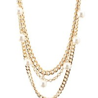 Gold Layered Chain & Pearl Necklace by Charlotte Russe