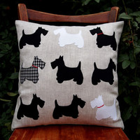 """Pillow 16 """"x16"""" . Scottish Terrier Dogs. Applique fabric, linen, cotton, rayon. Black and white."""