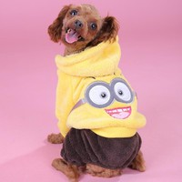 Pet Autumn & Winter Warm Dog Clothes Coral Velvet Minions Jackets Coats Puppy Hoodies Clothes XS-XL Free Shipping