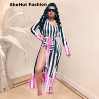Women Sexy Striped One Shoulder  Two Piece Swimsuit Cover Up Set