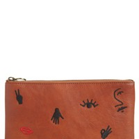 Madewell The Leather Pouch Clutch: Embroidered Icon Edition | Nordstrom