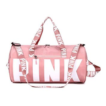 Women Pink Travel Bag Female Fitness Training Duffle Bag for Trip Large Capacity Waterproof Gym Sport Bag