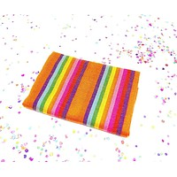 Orange striped Mexican fabric by the yard