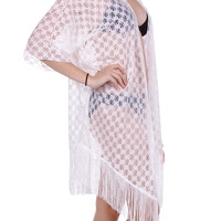 White Floral lace Sleeved Coverup