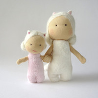 Cat sisters, cat doll, waldorf doll, tooth fairy, waldorf miniature artdoll, guardian, ready to ship