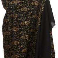 Exotic India Caviar Black Tusha Shawl from Kashmir with Needle Stitched Embroidered Paisleys by Han