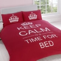 TWIN RED TEENAGER KEEP CALM ITS TIME FOR BED COTTON REVERSIBLE COMFORTER COVER