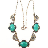 Lovely Vintage Art Deco Necklace, Peking Glass, Marcasites, Lotus, Silver Plate over Brass, 1920s