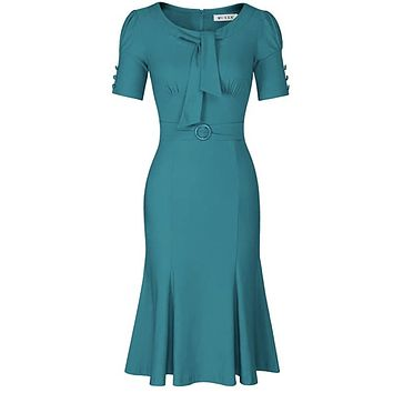 1950's Style Short Sleeve Mermaid Dress, Sizes Small - 2XLarge (Harbor Blue)