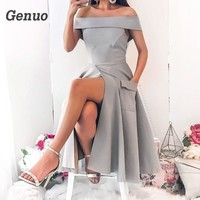 Women Summer Sexy Slash Neck Dress Femme Vintage Dress Pockets Split Party Midi Dresses Zipper Plus Size Off Shoulder Genuo