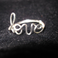 Silver Love Ring Wire Wrapped by aLilJazzJewelry on Etsy