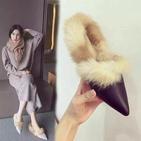 AVVVXBW 2017 Winter Women Flats Shoes Real Rabbit Fur Shoes Woman Fashion Thickening Warm Slippers Women's Shoes Casual Loafers