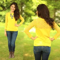 The Lace of Love Top in Chartreuse