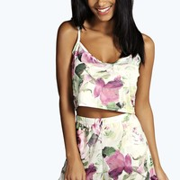 Fifi Floral Crop Cami And High Waist Short Set