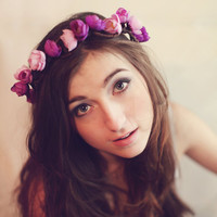 Bridal flower crown floral crown, Wedding wreath Boho garland, Purple flower crown, Silk Flowers - 'Dreaming of Paradise'