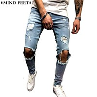 Men Jeans Stretch Destroyed Ripped Hole Design Fashion Ankle Zipper Skinny Jeans For Youth Men