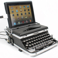 USB Typewriter -- iPad Dock and Computer Keyboard -- Royal Deluxe with Chrome Accents