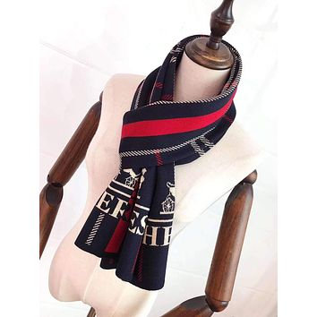 """""""Hermès"""" Man Casual Fashion  Spell Color Stripe Double Sided Square Pattern Knitted Wool Scarf"""