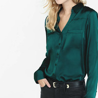 Original Fit Silky Crepe Portofino Shirt from EXPRESS