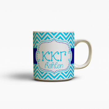 KAPPA KAPPA GAMMA - THIN BLUE CHEVRON - KKG SORORITY COFFEE MUG