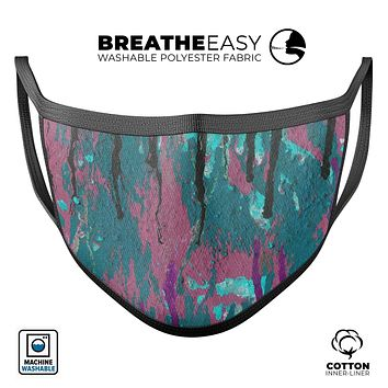 Abstract Retro Pink Wet Paint - Made in USA Mouth Cover Unisex Anti-Dust Cotton Blend Reusable & Washable Face Mask with Adjustable Sizing for Adult or Child
