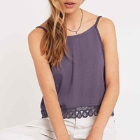 Staring At Stars Crochet Trim Cami in Heather Grey - Urban Outfitters