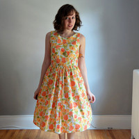 The Brunch Dress. XS - XL, Petite - Tall. Orange & Green on White. 1950s Vintage Reproduction. Summer.