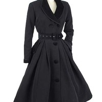 "Velvet Trimmed Vintage Style Black ""New Look"" Inspired Coat Dress"