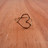Heart Ring, Antique Brass, Wire Wrapped